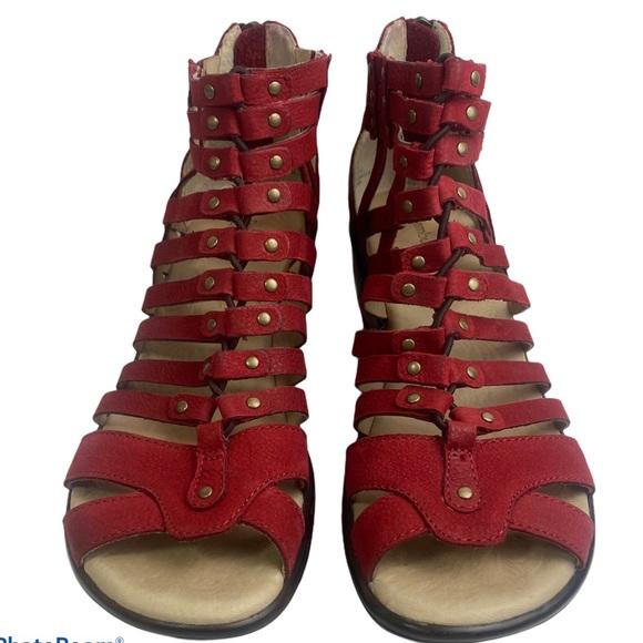 Jambu Sugar Wedge Gladiator Red Leather Sandals